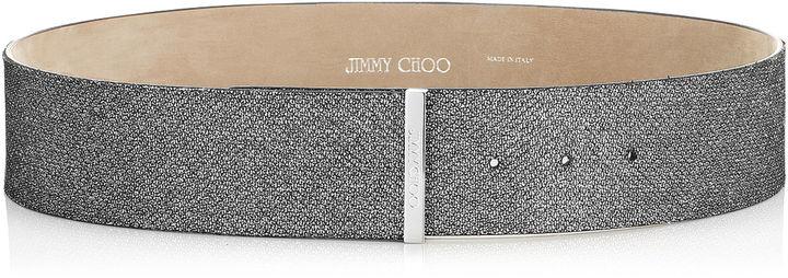 Jimmy ChooBRENDA Anthracite Lamé Glitter Belt