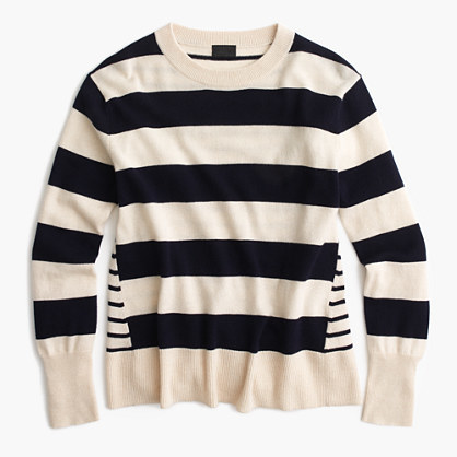 J.Crew Italian cashmere mixed-stripe crewneck sweater