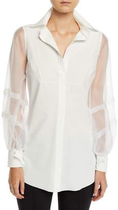 Chiara Boni Bayda Organza-Sleeve Shirt