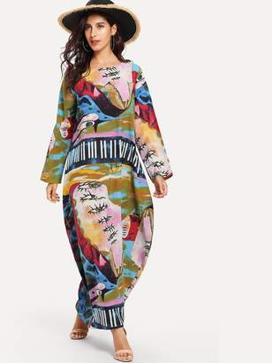 Shein Graphic Print Hidden Pocket Maxi Cocoon Dress