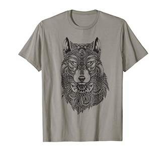 Cool Wolf Face TShirt Detailed Artistic Tee Womens Mens Boys