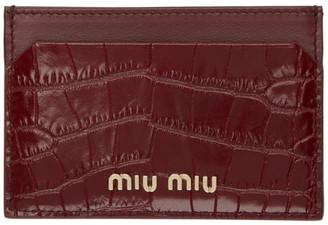Miu Miu Red Croc Card Holder