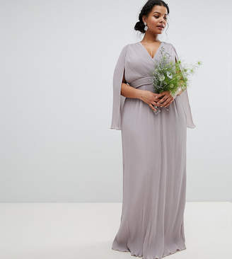 Tfnc Plus Pleated Wrap Front Maxi Bridesmaid Dress With Cape Detail