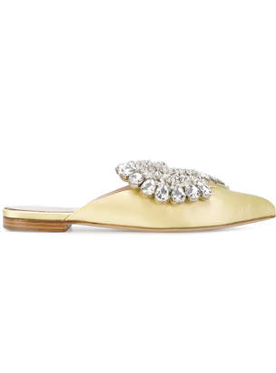 Paula Cademartori crystal embellished slippers