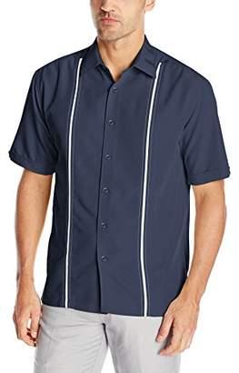 Cubavera Men's Short Sleeve Houndstooth-Print Shirt with Insert Panels