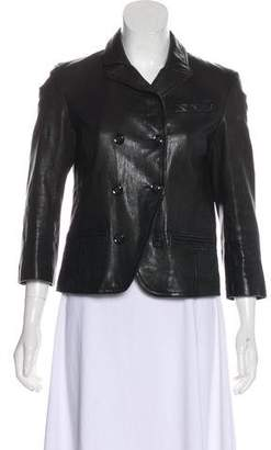 Diane von Furstenberg Leather Notch-Lapel Jacket