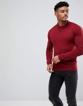 Asos DESIGN muscle fit knitted polo in burgundy