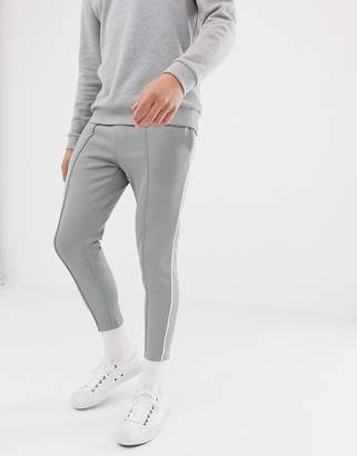 ONLY & SONS slim track pant with side stripe and cropped ankle