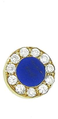 Jennifer Meyer Diamond Lapis Circle Single Stud Earring - Yellow Gold
