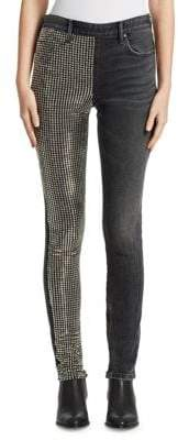 Alexander Wang Studded Panel Slim Slouch Jeans