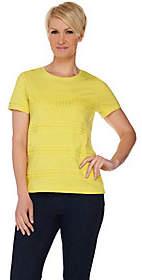 C. Wonder Short Sleeve Slub Knit Top with LaceStripes