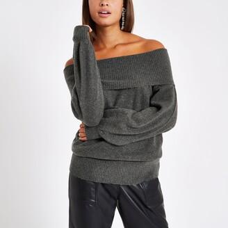 3f7bddf8817 River Island Womens Dark Grey knit bardot jumper