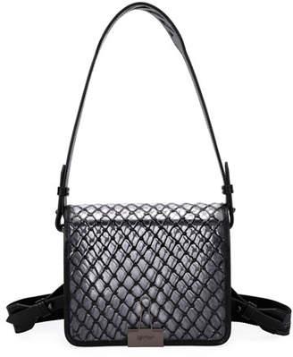 Off-White PVC Net Flap Crossbody Bag, Black