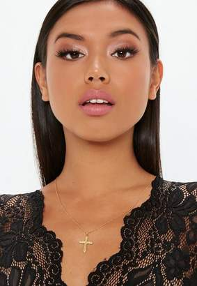 Missguided Gold Plated SS Cross Necklace Gold