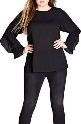 City Chic Frill Me Layered Sleeve Woven Top