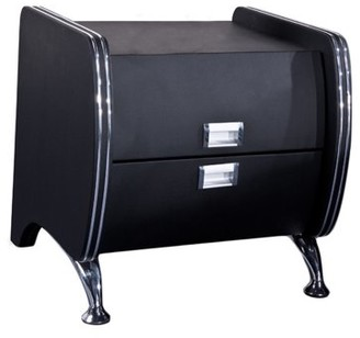 US Pride Furniture Dona Black Faux Leather Contemporary Nightstand