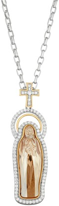 Two Tone 18k Gold Plated Crystal & Cubic Zirconia Virgin Mary Pendant Necklace
