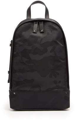 Valentino Camouflage Cross Body Nylon Backpack - Mens - Black