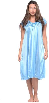 Casual Nights Women s Cap Sleeve Rose Satin Nightgown e8690c718