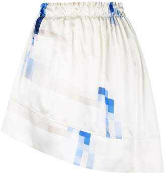 Paco Rabanne asymmetric pixel print skirt