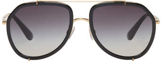 Dolce & Gabbana Gold and Black Aviator Sunglasses