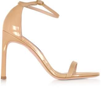 Stuart Weitzman Nudistsong Adobe Patent Leather High Heel Sandals