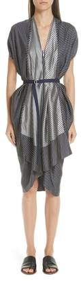 Zero Maria Cornejo Mixed Stripe Zip Front Belted Dress