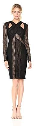 BCBGMAXAZRIA Azria Women's Jaylynn Mesh Cutout Knit Dress