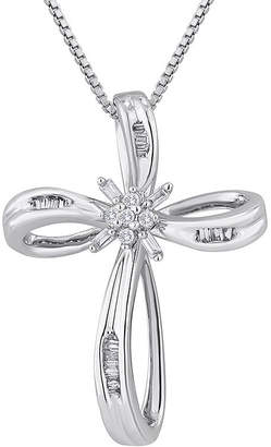 FINE JEWELRY 1/10 CT. T.W. Diamond Sterling Silver Ribbon-Style Cross Pendant Necklace