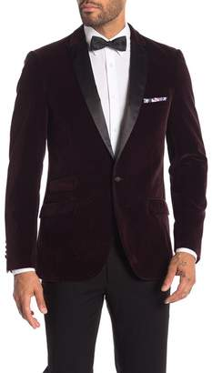 Paisley & Gray Grosvenor Purple Dotted One Button Peak Lapel Velvet Slim Fit Tuxedo Jacket