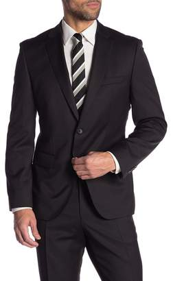 BOSS Johnstons Black Solid Two Button Notch Lapel Wool Suit Separates Jacket