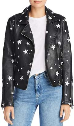 Aqua Star Print Faux Leather Moto Jacket - 100% Exclusive