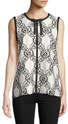 Karl Lagerfeld PARIS Lace Overlay Sleeveless Blouse