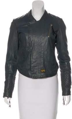 G Star Leather Biker Jacket