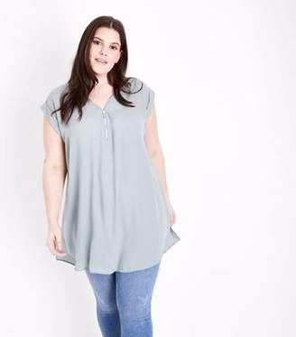 New Look Curves Mint Green Zip Neck Tunic Top