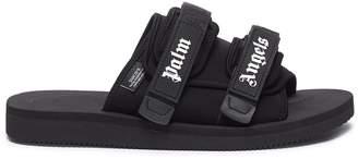 Palm Angels x SUICOKE strappy band logo print slide sandals