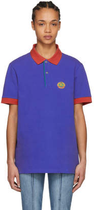 Burberry Blue Crest Colorblock Polo