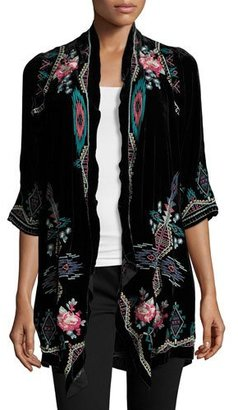 Johnny Was Aveza Draped Velvet Coat, Petite $325 thestylecure.com