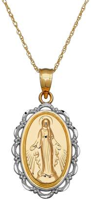 Everlasting Gold Two Tone 10k Gold Virgin Mary Pendant Necklace