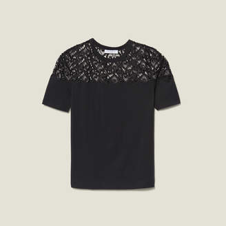 Sandro T-Shirt With Guipure Lace Insert
