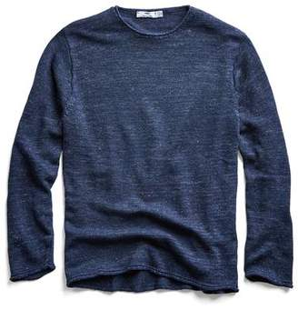 Inis Meáin Washed Linen Roll Neck Sweater in Navy