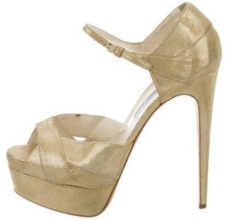 Brian Atwood Metallic Platform Sandals $145 thestylecure.com