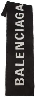 Balenciaga Logo Printed Wool Plaid Scarf