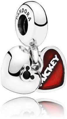 Pandora Disney, Mickey & Minnie Pendant Charm - Enamel / Sterling Silver / Crystal / Black / Red
