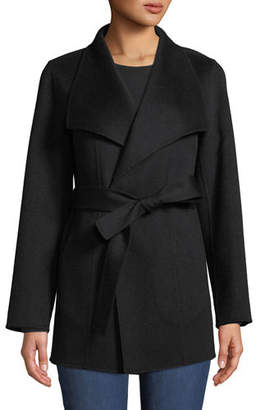 Neiman Marcus Luxury Double-Faced Cashmere Mid-Length Wrap Coat