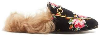 Gucci - Princetown Shearling Lined Rose Print Loafers - Womens - Black Multi