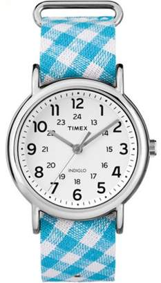 Timex Women's Weekender Blue Gingham Nylon Watch