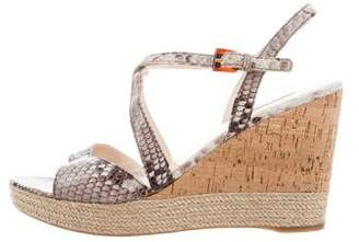 Prada Sport Embossed Wedge Sandals
