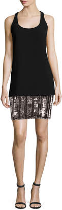 Carmen Marc Valvo Sleeveless Crepe & Jersey Tank Dress, Black
