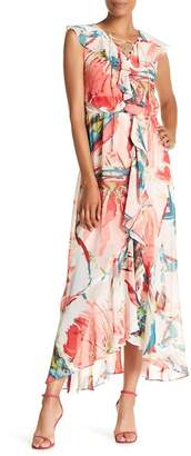 Sangria V-Neck Sleeveless Floral Print Maxi Dress